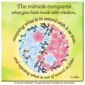 """graphic (ACIM Weekly Thought): """"The miracle compares what you have made with creation, accepting what is in accord with it as true, and rejecting what is out of accord as false."""" T-1.I.50:1"""