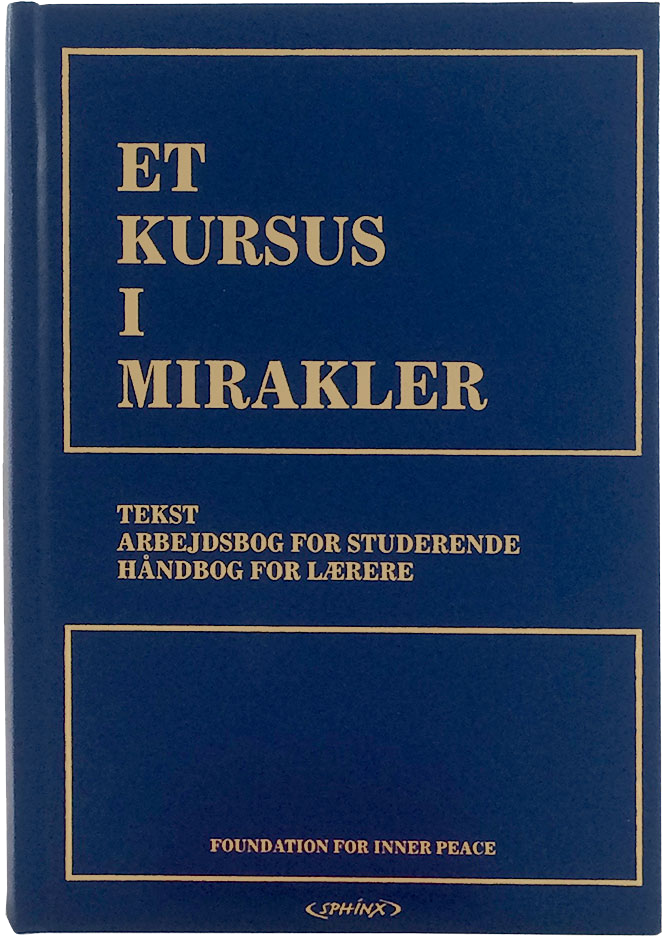 photo - book cover: ET KURSUS I MIRAKLER: ACIM book; front cover: Danish