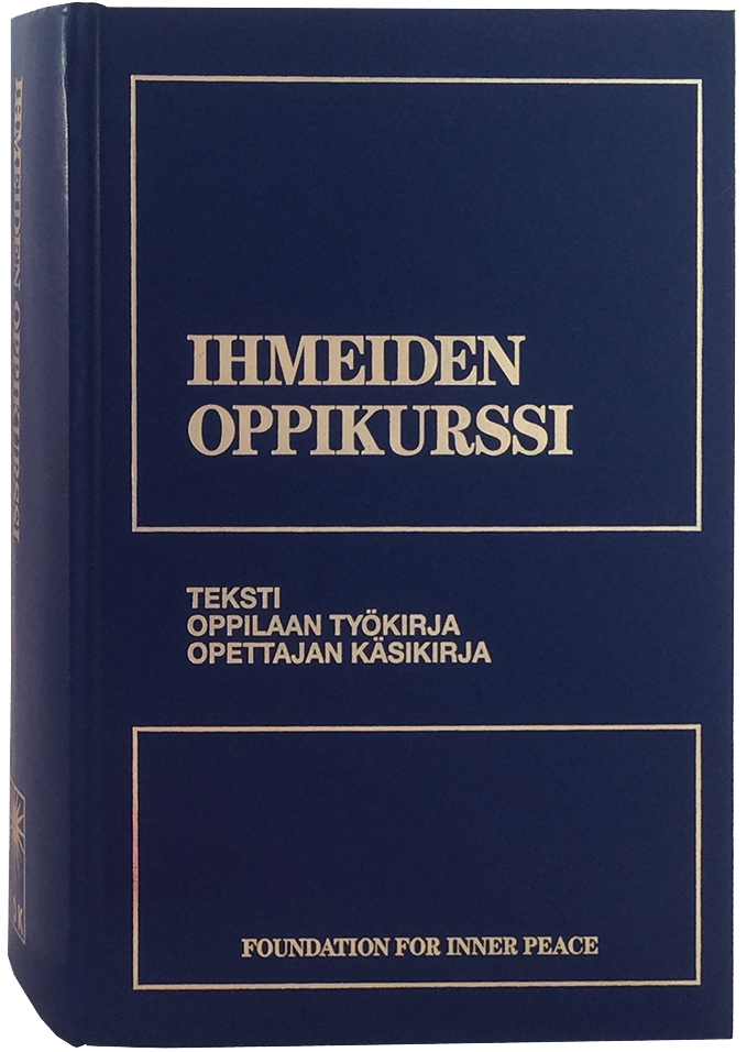 photo - book cover: IHMEIDEN OPPIKURSSI: Finnish book: A Course in Miracles (upright front cover/spine view)