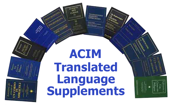 photo - book covers: ACIM Translated Language Supplements: books arranged in an arch pattern