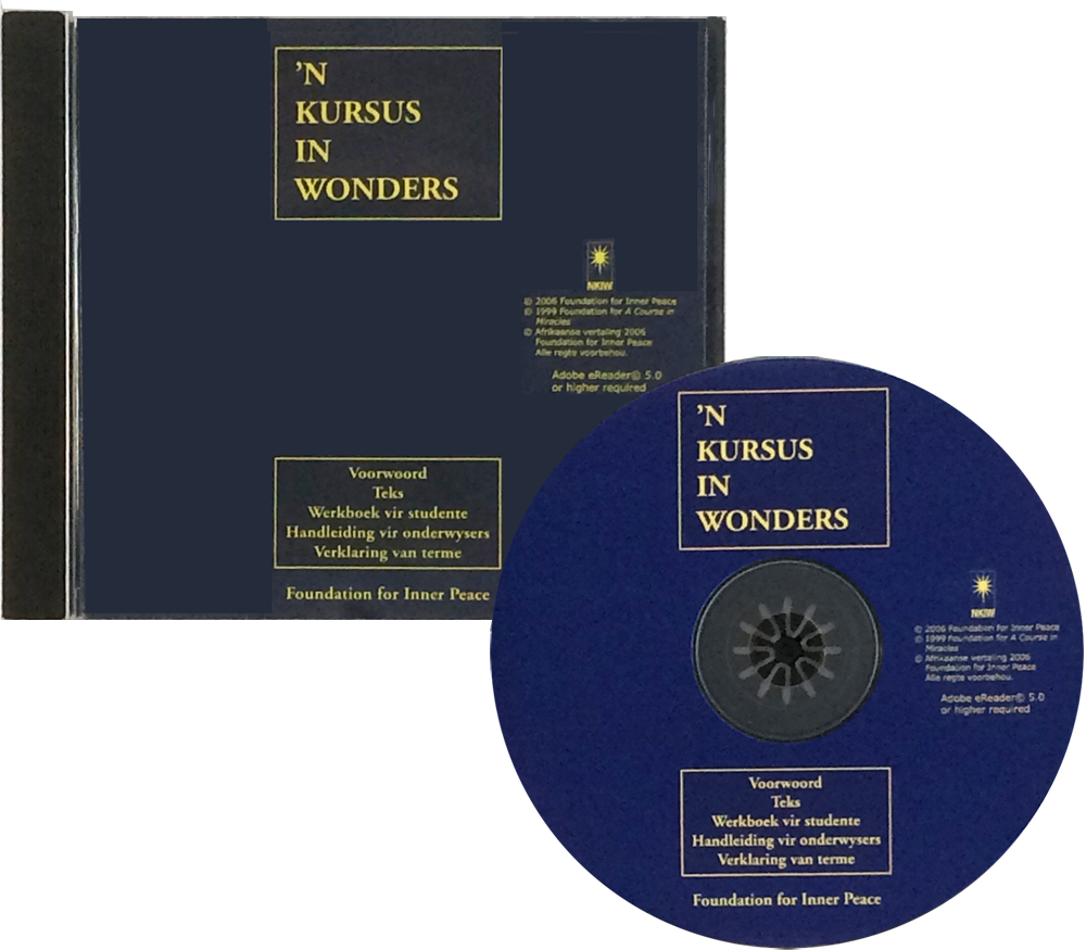 photo - CD/DVD: 'N KURSUS IN WONDERS - Afrikaans - Electronic Book version of A Course in Miracles - front jewel case and disc