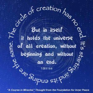 """graphic (ACIM Weekly Thought): """"The circle of creation has no end. Its starting and its ending are the same. But in itself it holds the universe of all creation, without beginning and without end."""" T-28.II.1:6-8"""