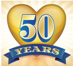 50 Years logo: heart with scroll: Semi-Centennial of the Scribing of A Course in Miracles 2015 ~ Celebrating 50 Years