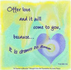 """graphic (ACIM Weekly Thought): """"Offer it (love) and it will come to you, because it is drawn to itself."""" T-12.VIII.1:6"""