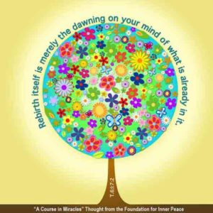 """graphic (ACIM Weekly Thought): """"I am the model for rebirth, but rebirth itself is merely the dawning on your mind of what is already in it."""" T-6.I.7:2"""