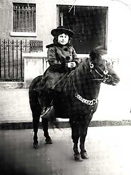 photo - vintage: Helen Schucman at 8 years old on a pony