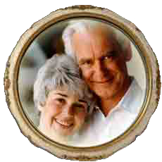 "photo - group: Judith ""Judy"" Skutch Whitson and Dr. William W. ""Whit"" Whitson, round frame"