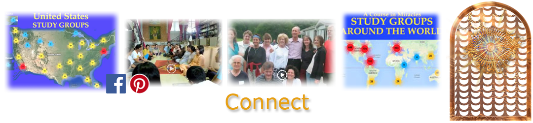 ACIM.org: Home page slider slide: Connect: study group maps (USA and world), group photos, Facebook, Pinterest button icons