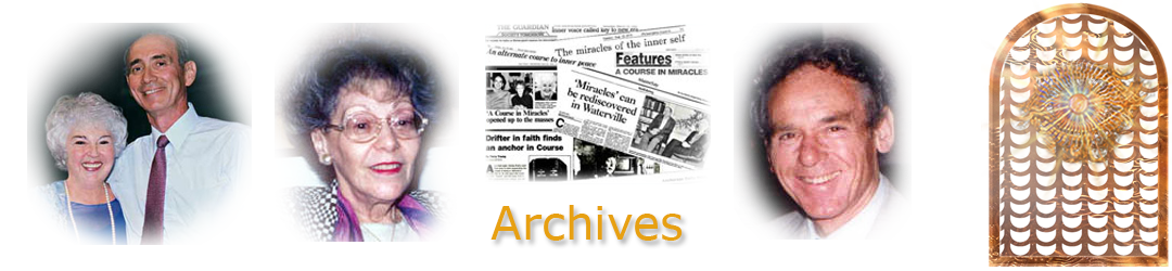 ACIM.org: Home page slider slide: Archives (photos of Judy & Ken, Helen, Bill, and newspaper clippings)