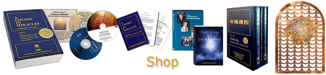 ACIM.org: Home page slider slide: Shop (Store): books, DVDs, digital downloads, media