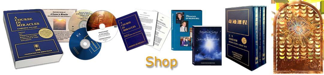 ACIM.org: Home page slider slide: Shop (Store): books, DVDs, digital downloads, media
