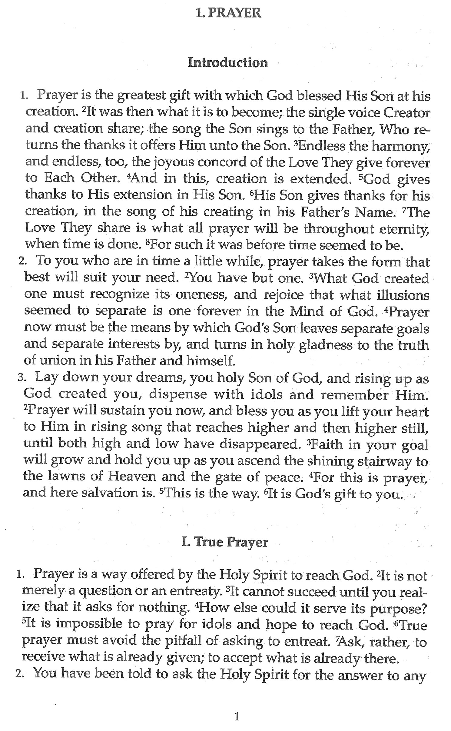 "graphic: (sample page) ""The Song of Prayer: Prayer, Forgiveness, Healing"" - page 1: Introduction, True Prayer"