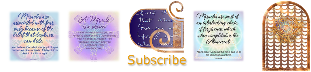 ACIM.org: Home page slider graphic slide: Subscribe (3 sample quote graphics and scribed glyphs symbol)