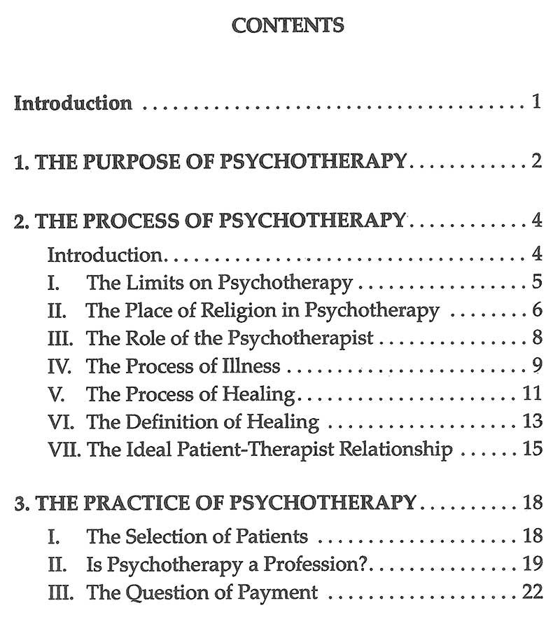 "graphic: (sample page) ""Psychotherapy: Purpose, Process and Practice"": Table of Contents"