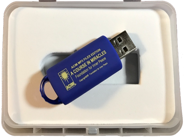 product photo: A Course in Miracles on USB flash MP3 drive; connector extended, box open, lid not shown