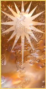 graphic button: ACIM star logo over copper waves (lower opacity waves in lower section)