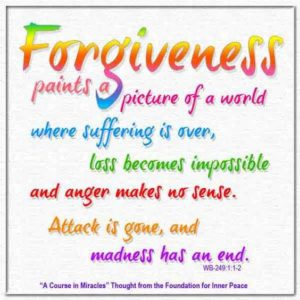 """graphic (ACIM Weekly Thought): """"Forgiveness paints a picture of a world where suffering is over, loss becomes impossible and anger makes no sense."""" W-pII.249.1:1"""