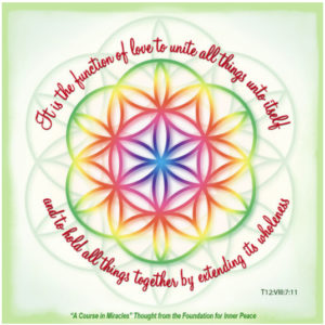 """graphic (ACIM Weekly Thought): """"For it is the function of love to unite all things unto itself, and to hold all things together by extending its wholeness."""" T-12.VIII.7:11 (seed of life - sacred geometry motif)"""
