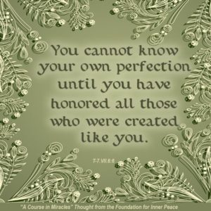 """graphic (ACIM Weekly Thought): Weekly Thought: """"You cannot know your own perfection until you have honored all those who were created like you."""" T-7.VII.6:6"""