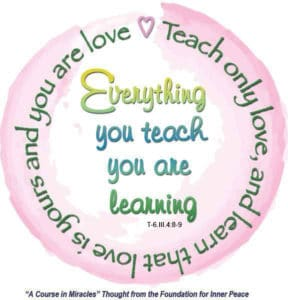 "graphic (ACIM Weekly Thought): ""Everything you teach you are learning. Teach only love, and learn that love is yours and you are love."" T-6.III.4:8-9"