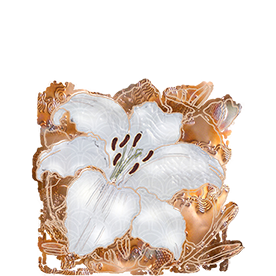 graphic: LESSONS - white lily with 'copper garden' background