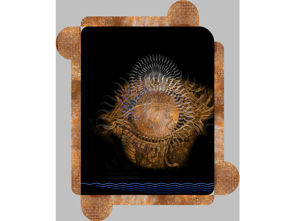 "Meditation graphic: rotated ""{"" stylized eye with copper disk over dark blue oblong rectangle, over copper disk/rectangle frame"