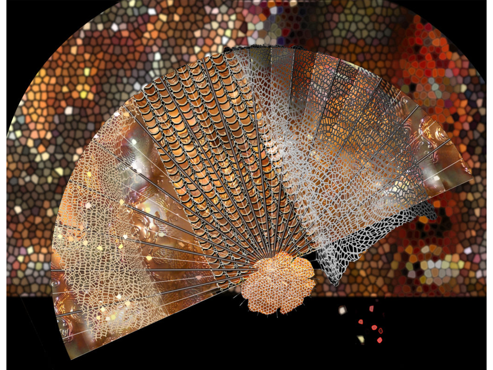 Meditation graphic: stylized fans with kaleidoscopic and tiled arch backgrounds