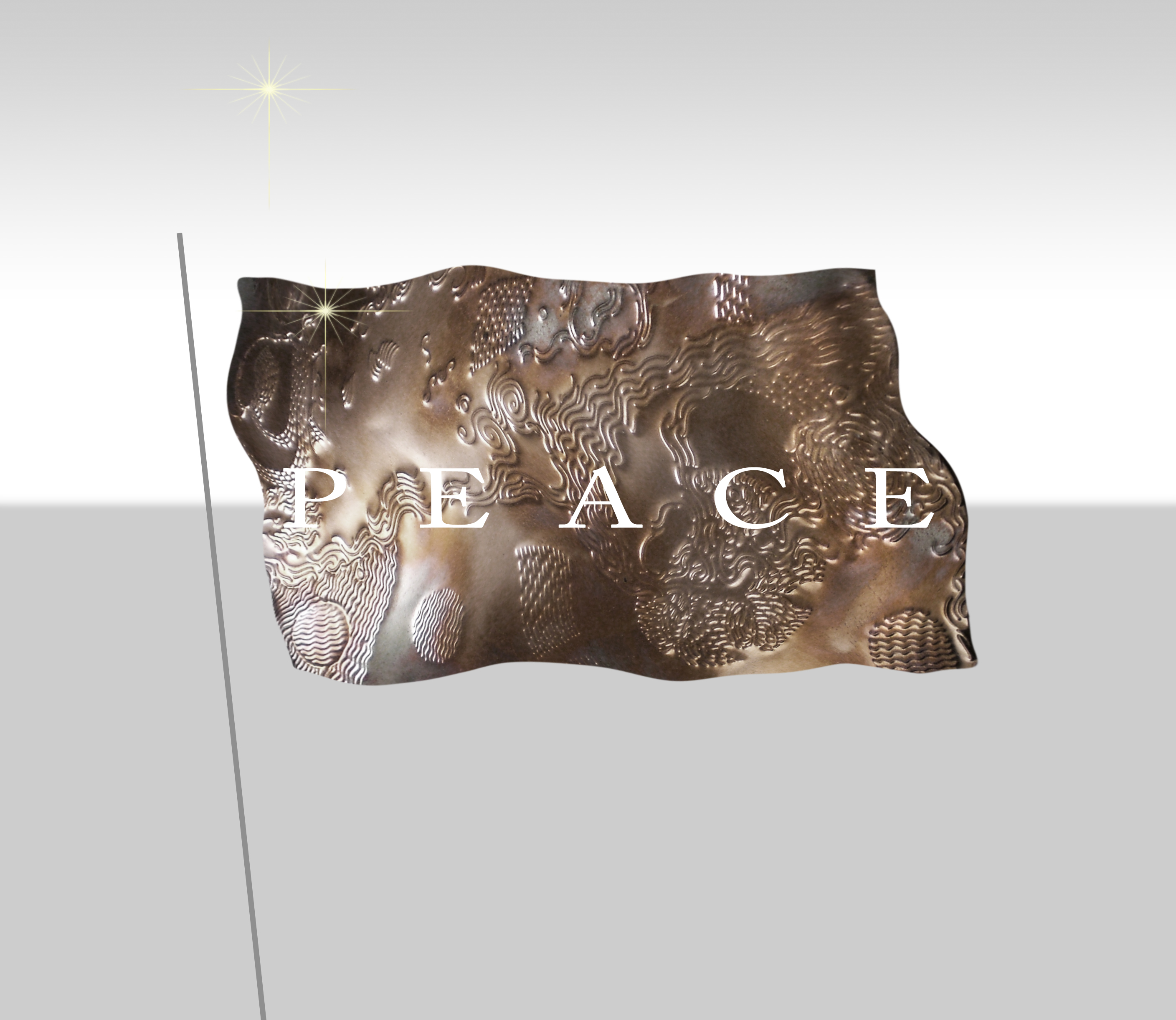 "Meditation graphic: ""PEACE"" lettering over stylized copper flag (with small yellow starbursts in upper left of background and flag)"