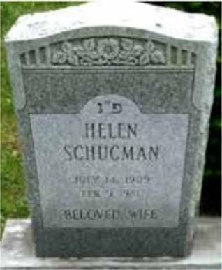 "Helen Schucman - cemetery headstone ""BELOVED WIFE"""