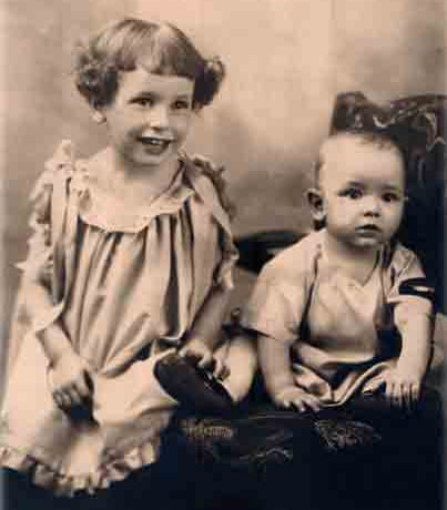 "photo - vintage: William ""Bill"" Thetford and his sister Pat - 1924"