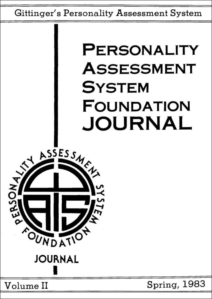 photo - other: Volume II - Spring, 1983 - Gittinger's Personality Assessment System - logo of the Personality Assessment System Foundation Journal
