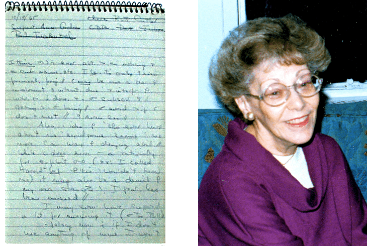 dual photo: spiral notebook with Helen's shorthand notes; Helen Schucman