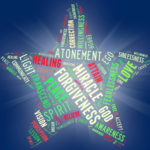 graphic element: Word Star - ACIM Weekly Thought (star shape word montage/cloud made of words from ACIM; e.g. FORGIVENESS, ATONEMENT, MIRACLE, TRANSCEND, WILLINGNESS, FEARLESSNESS, SPIRIT, VISION, PEACE, LOVE, UNITE, CORRECTION, etc.)