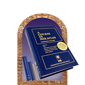graphic: SHOP - ACIM book in decorative copper arch, with 3 smaller books leaning against wall of arch