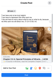 Hard cover book of A Course in Miracles on Gold textured fabric